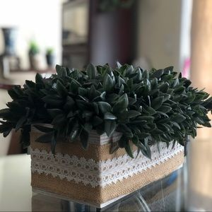 Hand Crafted Planter with Burlap